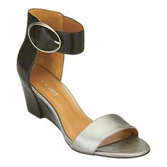 "A sleek, partially covered wedge brings just the right height to Ventana, our chic ankle-wrap, open-toe sandals for effortless day-into-night versatility. Padded footbed for all-day comfort. Leather upper. Man-made lining and sole. Imported. 2 1/4"" mid-heel. Women's shoes. Ankle-strap wedge sandals."