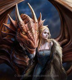 Anne Stokes Friend or Foe Dragon Picture Dragon Medieval, Medieval Fantasy, Magical Creatures, Fantasy Creatures, Dragon Illustration, Anne Stokes, Dragon Girl, Female Dragon, Dragon Artwork