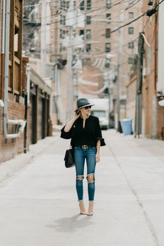 Ripped Jeans, Levi's Denim, Panama Hat, Spring Style
