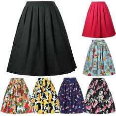 Women Vintage Retro Pleated Cotton Skirt A-Line Swing Homecoming Skirt 5 Pattern