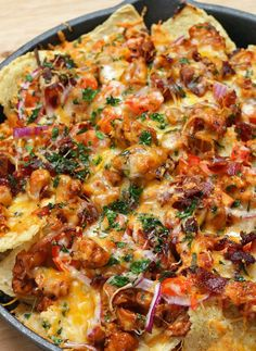 Loaded BBQ Chicken Nachos Recipe by Tasty Cheesy Recipes, Easy Chicken Recipes, Crockpot Recipes, Cooking Recipes, Cooking Videos, Cooking Tips, Bbq Nachos, Chicken Nachos Recipe, Chicken Bacon