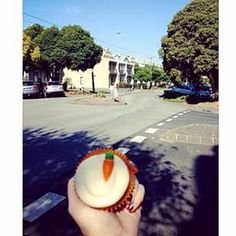 Check out @i.spy.pie touring Melbourne with our carrot cupcake! DE.LICIOUS! #thecupcakequeens #TCQmoment #instore #online