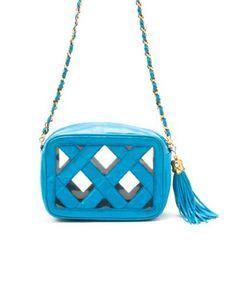 I love this Chanel bag!!    Chanel : turquoise crosshatched lambskin tassel vintage shoulder bag