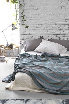 Magical Thinking Diamond-Stripe Bed Blanket from Urban Outfitters. Saved to Make Your Bed . Dream Bedroom, Home Bedroom, Bedroom Decor, Brick Bedroom, Taupe Bedroom, Bedroom Artwork, Decor Room, Master Bedrooms, Bedroom Furniture