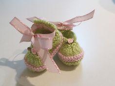 Baby Girls, Size 0-3 Months Booties, Hand Knitted, Pink and Green Yarn, Tiny Pink Rose,Pink Ribbon Ties - no pattern - just idea