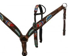 Painted Feather One Ear Headstall Set
