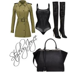 Khaki Kinks by styledbyjmini on Polyvore featuring polyvore, fashion, style, Knutsford, Wolford, Jimmy Choo and Fendi