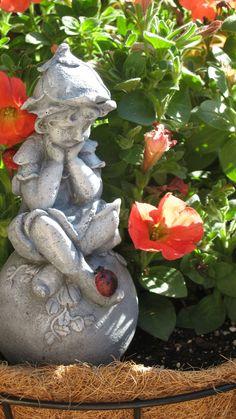 hand painted garden statue concrete cement pixie fairy garden lady bug 1995 via etsy - Concrete Garden Statues