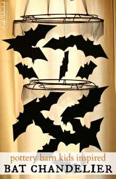 This fun DIY Halloween bat chandelier, inspired by a piece from Pottery Barn Kids, is perfect for a Halloween party or just for decorating for the holiday!