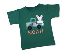 Boy's Easter Shirt  Easter Bunny in Plaid Truck by SunbeamRoad