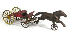 Ca1890's Cast Iron Horse Drawn Buckboard Style Wagon Type By Wilkins Toy Co. #1