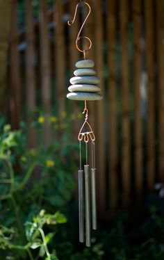 Wind Chime Natural Pacific Beach Stone Driftwood Mobile, Driftwood Art, Rock And Pebbles, Pacific Beach, Beach Stones, Naturally Beautiful, Pebble Art, Stone Art, Garden Art