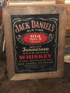 90 Proof wood framed Jack Daniel's mirror from the Jack Daniels Barrel, Jack Daniels Whiskey, Jack Daniels Distillery, Men Cave, Alcohol Bottles, Tennessee Whiskey, Number 7, Vintage Wall Art, Wood Boxes