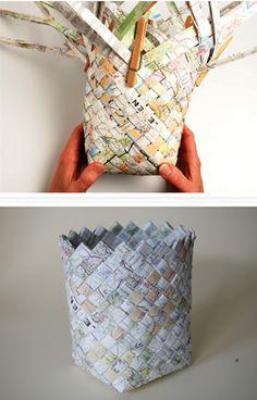diy manualidades cesto revistas papel