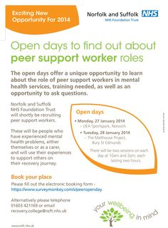 Find out how to use your experience with mental health to help others. The events take place on Monday, 27 January 2014 at UEA Sportspark, Norwich and Tuesday, 28 January 2014 at The Malthouse Project, Bury St Edmunds.