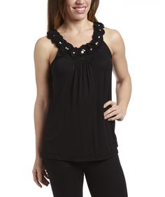 Look at this #zulilyfind! Black Pearl Rosette Tank by Simply Irresistible #zulilyfinds