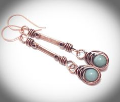 Wirewrapped jewelry. Hanging earrings. Copper wire by JCLwire