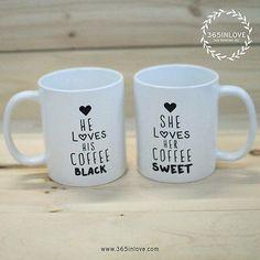39ffd16cf31 Black Coffee Matching Couple Mugs - His and Hers Matching Coffee Mug Cup