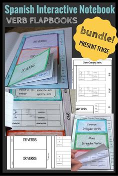 "Perfect for organizing verbs in the present tense, this bundle includes flapbooks for referencing regular ar, er, and ir verbs, stem-changing ""boot"" verbs, common irregular verbs and common irregular ""yo"" verbs. The endings and/or rules, or common examples are visible as an at-a-glance reference. Blank version are also available to personalize the verbs included."