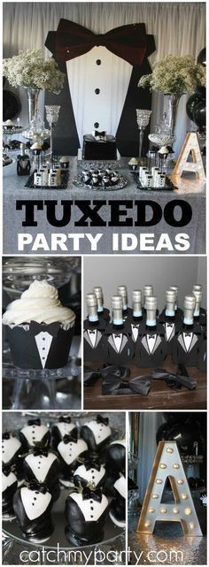 all white party What an amazing black and white tuxedo birthday party! See more party ideas at ! Birthday Table, Adult Birthday Party, Man Birthday, 50th Party, Birthday Party Decorations, Black Tie Party, Decoration Photo, Man Party, Party Time