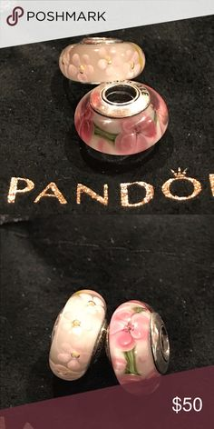 2 Pandora glass beads New. Sterling Silver stamped 925. Check color before you buy . Pandora Jewelry Bracelets