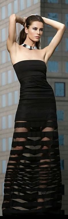 Strapless black maxi fashion