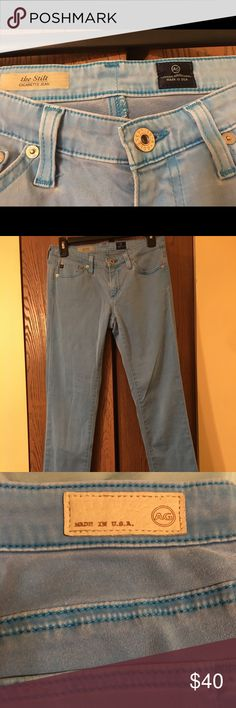 AG the stilt cigarette colored jeans size 27 EUC gorgeous AG colored denim. Light blue skinny jeans. Soft with some stretch. Smoke free, dog friendly Ag Adriano Goldschmied Jeans Skinny