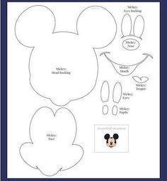 Moldes - Minnie e Mickey Mouse Baby Mickey, Mickey E Minnie Mouse, Mickey Mouse Crafts, Theme Mickey, Mickey Party, Mickey Mouse Birthday, Disney Crafts, Mickey Mouse Template, Scrapbook Da Disney