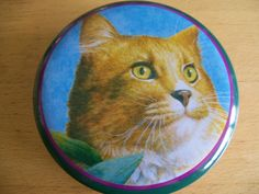 Kitty Cat Tin Trinket Box crowning touch Round Orange Penny Auctions, Trinket Boxes, Tin, Kitty, Touch, Orange, Cats, Little Kitty, Gatos