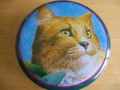 Kitty Cat Tin Trinket Box crowning touch Round Orange