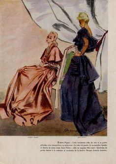 Mourgue 1945 Robert Piguet & Jean Patou Evening Gown | Hprints.com