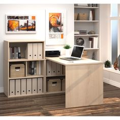i3 by Bestar L-shaped Desk with Small Hutch