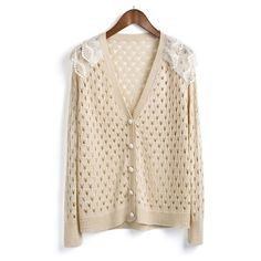 Beige Single Breasted Lace Hollow Sweater ($31) ❤ liked on Polyvore