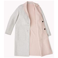 Reversible Wool Coat (9.830 CZK) ❤ liked on Polyvore featuring outerwear, coats, jackets, white woolen coat, white coat, white wool coat, reversible wool coat and reversible coat