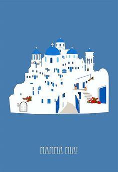 Mamma Mia Postcard by Sunyoung. This envokes the island where the movie was set Mamma Mia, Poster Minimalista, Here I Go Again, Alternative Movie Posters, Alternative Music, Chef D Oeuvre, Romantic Movies, Minimalist Poster, Minimalist Movie Posters
