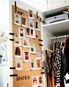 Cork place mats taped to the inside a of a wardrobe doors used as pin boards for photos of outfits