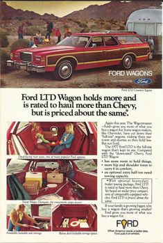 Ford Station Wagon Automobile Original 1977 Vintage Print Ad Color Photo Red LTD Country Squire Car on Etsy, $9.99