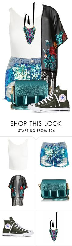"""SYMMER DAY"" by sally92 ❤ liked on Polyvore featuring Sans Souci, Topshop, House of Magpie, Burberry, Converse, Forest of Chintz, day, kimono, PolyvoreMostStylish and summer2017"