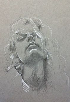 maidanceandart:  Pencil and white pen on toned paper by Mai Okawa / original photo from Transmission magazine 02 shot by Dylan Forsberg /model Hanne Gaby / thanks to ID management