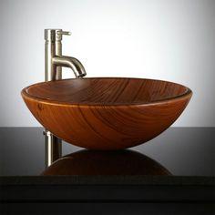 The Wooden Bathroom - Wood Bathtubs and Vessel Sinks - Wood Bathtubs and Wood Vessel Sinks Wood Bathtub, Wood Sink, Wooden Bathroom, Bathroom Furniture, Glass Vessel Sinks, Vessel Sink Bathroom, Sink Faucets, Rectangular Vessel Sink, Traditional Baths