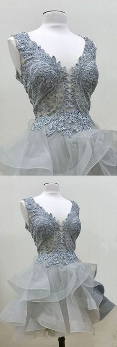 Short Prom Dresses, Sexy Prom dresses, Prom Dresses Short, Grey Prom Dresses, Prom Short Dresses, Tulle Prom Dresses, Short Homecoming Dresses, Sexy Party Dresses, Short Party Dresses, Grey Homecoming Dresses, Chic Homecoming Dress Appliques V-neck Tulle Sexy Short Prom Dress Party Dress