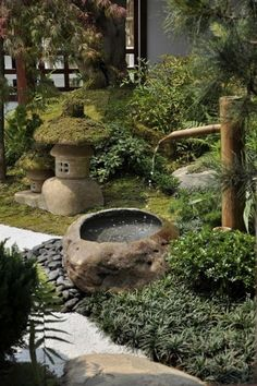 Bamboo fountains are also a great addition to Japanese gardens. They provide a strong Japanese influence while also instilling movement and ambiance.  #japanesegardening #gardenfountainscottage