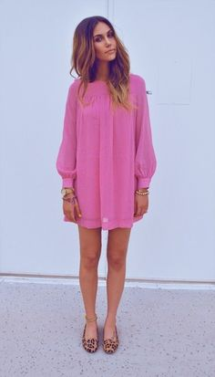 Bubble gum colored Tunic mini dress w leapord print flats and gold chunky accessories!! Viva Boho chic : )