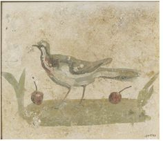 Bird standing on the ground with fruit  Object: Fresco fragment  Place of origin: Pozzuoli, Italy (painted)  Date: 2nd century (painted)  Artist/Maker: Unknown (production)