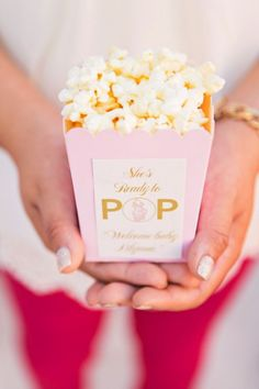 baby shower favors, vintage popcorn idea