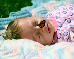 Butterfly on baby's nose