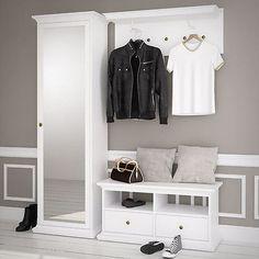 Garderobe Paris Landhaus weiß Dielenschrank mit Spiegel Bank Garderobenpaneel