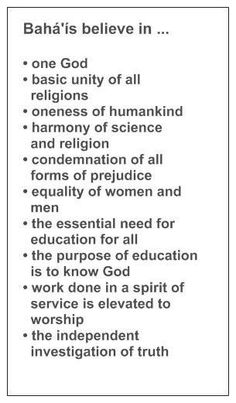 These are some of the social teachings of the Baha'i Faith.