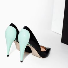 Image 5 of COMBINED LEATHER HIGH HEEL COURT SHOE from Zara