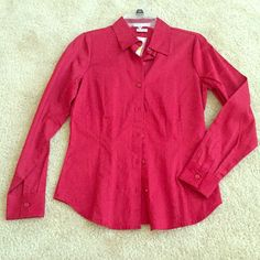 Red professional dress shirt Red professional dress shirt. Never worn, tags still attached. Would fit well for xs-small. Van Heusen Tops Button Down Shirts